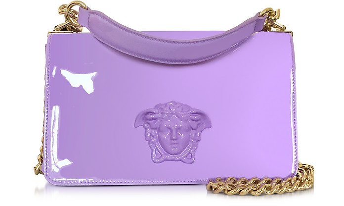 Palazzo Lilac Patent Leather Shoulder Bag - Versace