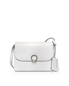 White Leather DV One Flap Shoulder Bag w/Black Lateral Gussets - Versace