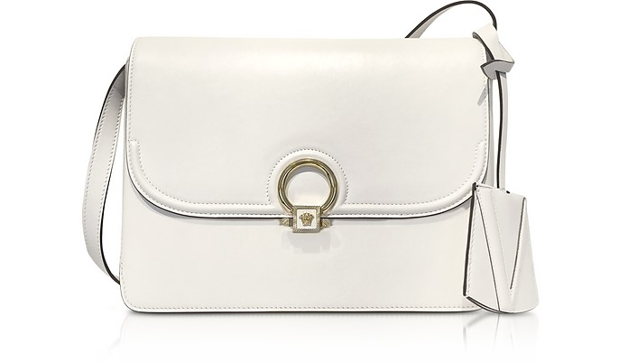 White Leather DV One Flap Shoulder Bag - Versace