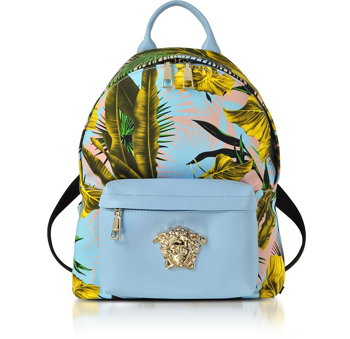 4d060ecd23 Versace Jungle Print Cotton and Nappa Leather Palazzo Backpack at ...