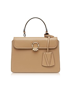 Beige Leather Large DV One Top Handle Bag - Versace