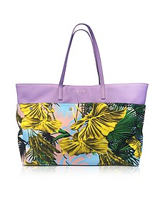 Desert Palm Print Cotton and Lilac Leather Palazzo Tote Bag - Versace