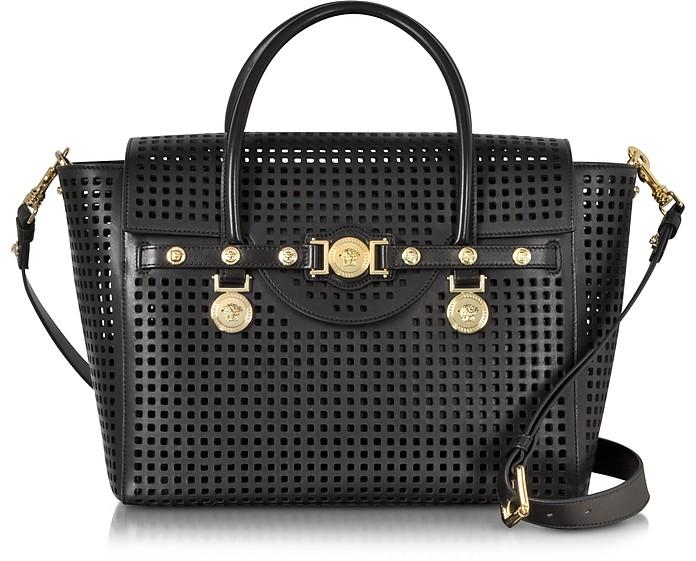 Black Perforated Leather Signature Handbag - Versace