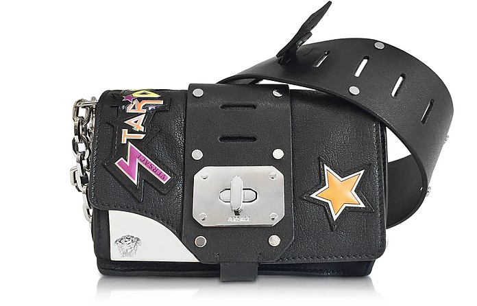 Stardust Black Leather Mini Shoulder Bag w/Patches - Versace