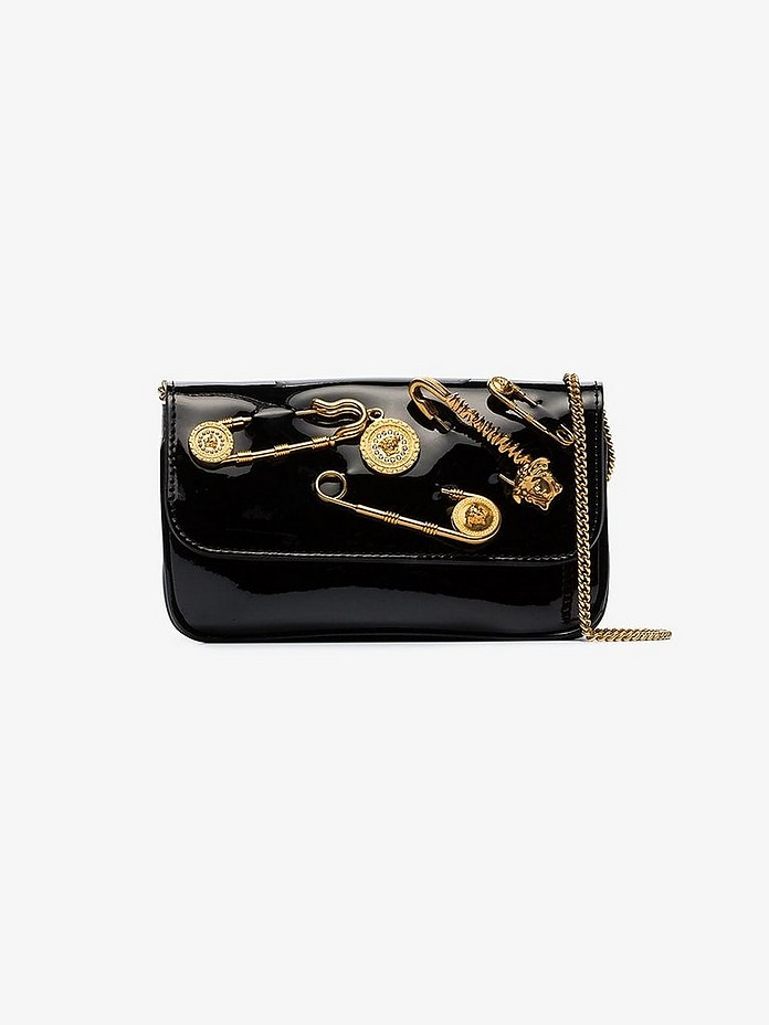 Versace Clutch Black Safety Pin Patent Leather Clutch Bag