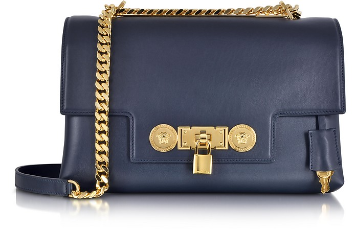 Dark Blue Leather Signature Lock Handbag - Versace