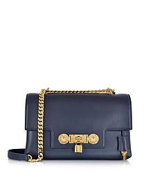 Dark Blue Leather Signature Lock Handbag