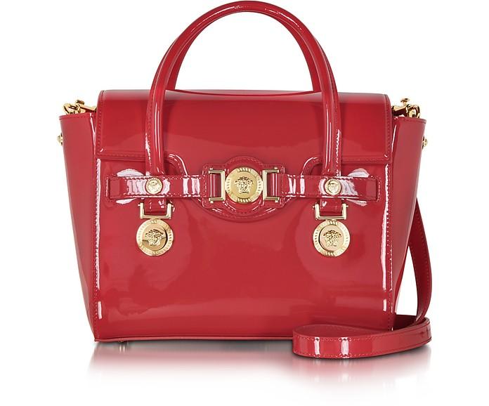 Versace Small Signature Eros Red Patent Leather Handbag at FORZIERI 7df22bad156b1