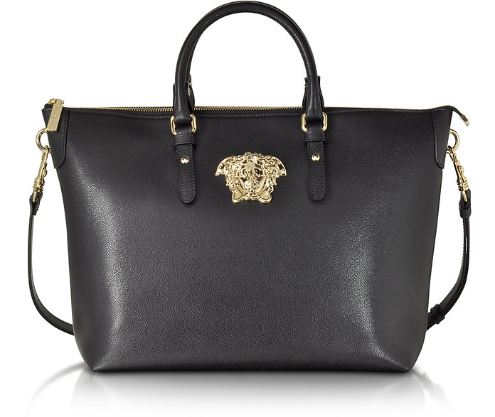 Versace Palazzo Small Black Leather Tote Bag at FORZIERI f72e33bc87b52