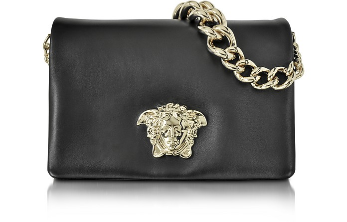 Palazzo Black Shoulder Bag w/Golden Medusa & Chain - Versace