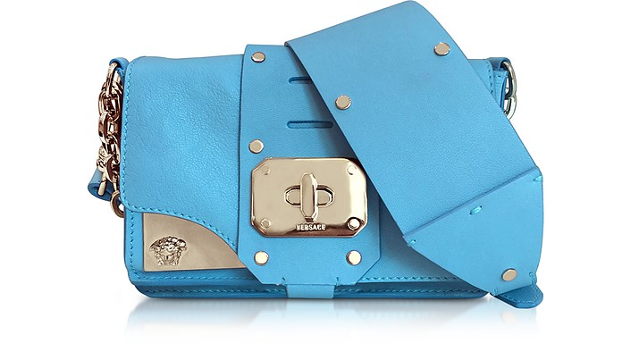 Stardust Turquoise Leather Mini Shoulder Bag - Versace
