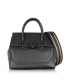 Palazzo Empire Grained Leather Satchel Bag w/Black Medusa - Versace