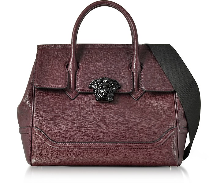 Palazzo Empire Grained Leather Satchel Bag w/Black Medusa - Versace