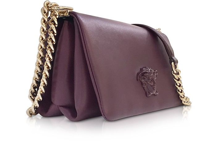 3d58616e732e Versace Burgundy Palazzo Nappa Leather Shoulder Bag w Medusa at ...