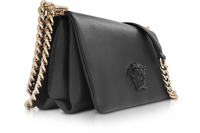 be69909b477d Versace Black Palazzo Nappa Leather Shoulder Bag w Medusa at FORZIERI