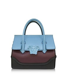 Palazzo Empire Color Block Leather Satchel Bag - Versace