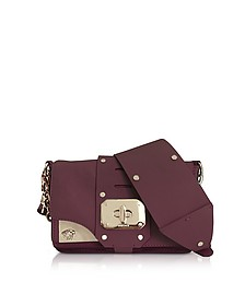 Stardust Burgundy Leather Mini Shoulder Bag - Versace
