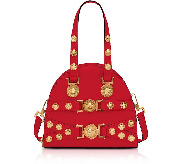 Red and Gold Small Tribute Satchel Bag - Versace