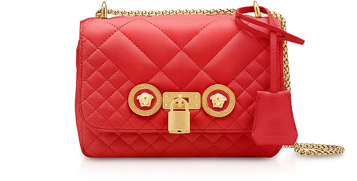 Small Off White Quilted Leather Icon Small Shoulder Bag - Versace