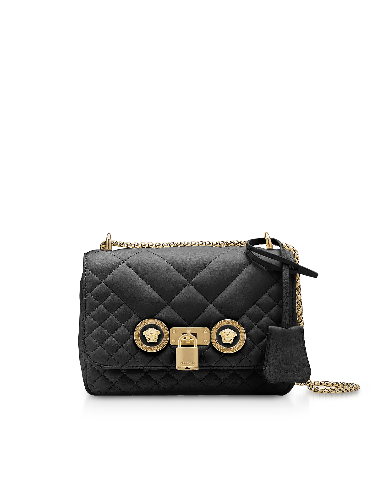 Versace Small Quilted Leather Icon Small Shoulder Bag In Black ... e558adb7951f2