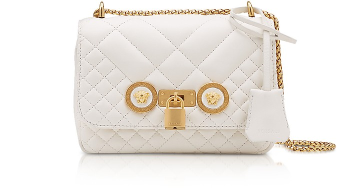 Small Off White Quilted Leather Icon Small Shoulder Bag