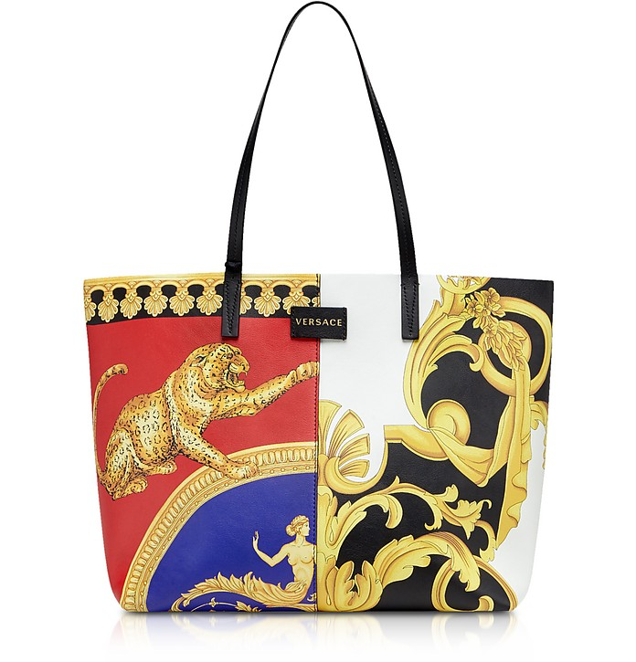 Barocco SS'92 & Signature Pillow Talk Printed Leather Tote Bag - Versace