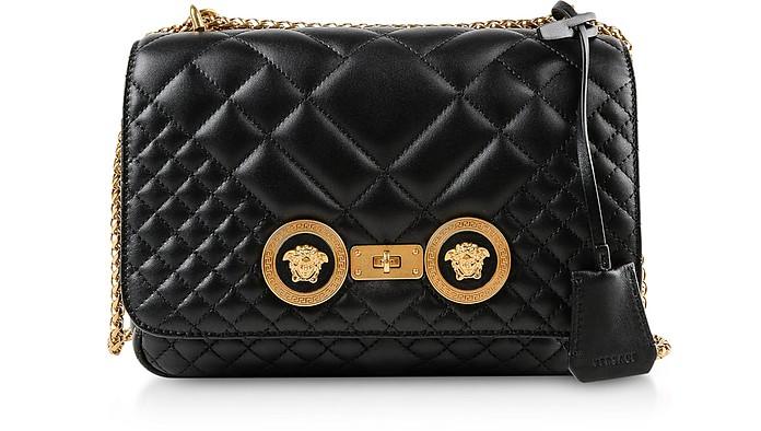 e35a9001ec5b Versace Medium Black Quilted Leather Shoulder Bag at FORZIERI Australia