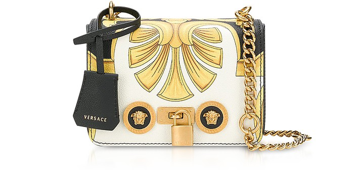 Barocco Printed Leather Shoulder Bag - Versace
