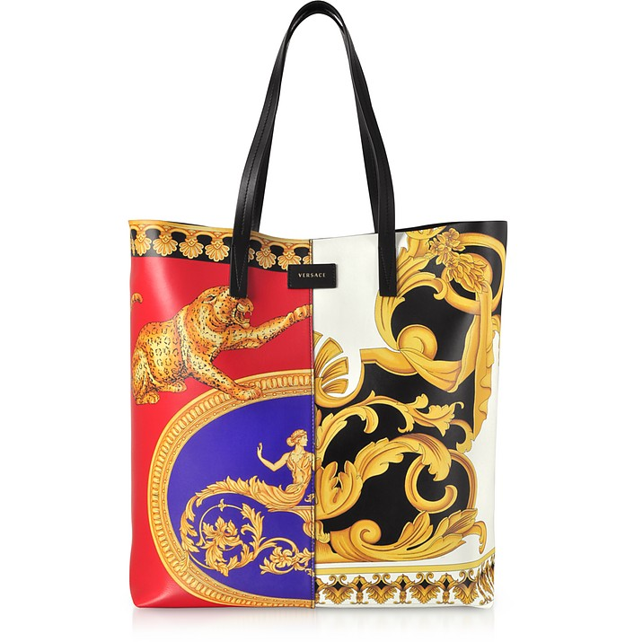 Pillow Talk Printed Leather Studded Tote Bag - Versace