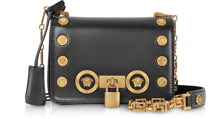 Versace Black Small Icon Leather Shoulder Bag at FORZIERI 20716effccf56