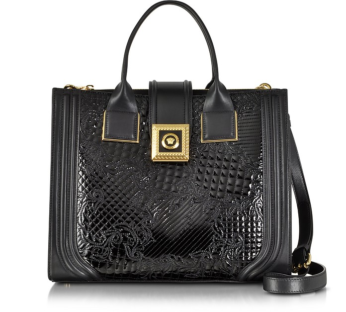 New Icon Patent Leather Microvanitas Bag - Versace