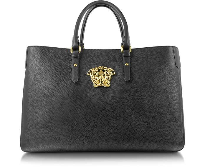 b1967654b5 Versace Medusa Logo Black Leather Handbag at FORZIERI