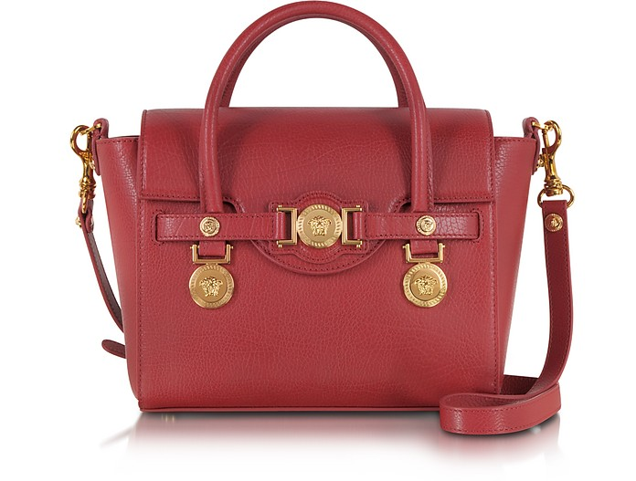 Ruby Red Leather Small Signature Bag - Versace