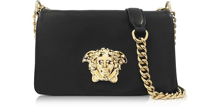 Palazzo Black Nappa Leather Shoulder Bag - Versace