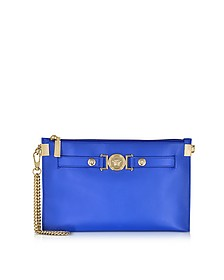 Small Signature Royal Blue Nappa Leather Pouch w/Chain Strap