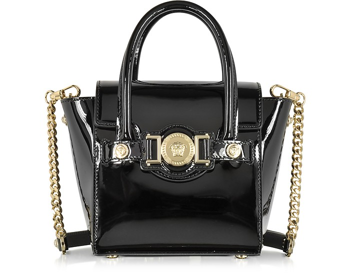 Black Patent Leather Signature Mini Bag - Versace