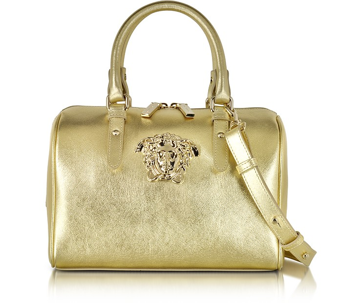 3212bcc8fcdb Versace Golden Saffiano Leather Satchel Bag at FORZIERI