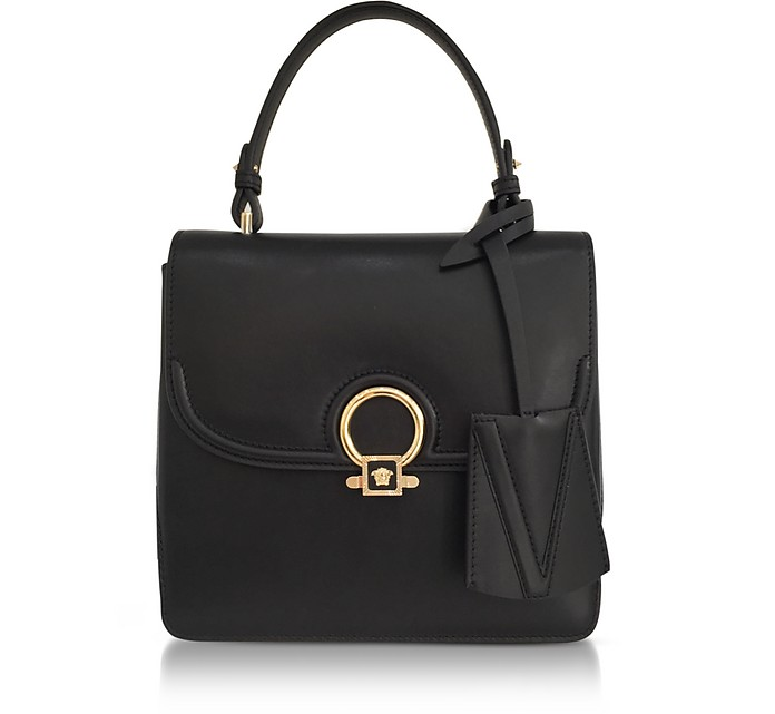 001ef5722516 DV One Black Leather Medium Shoulder Bag w Fully Charged Suede Lateral  Gussets - Versace