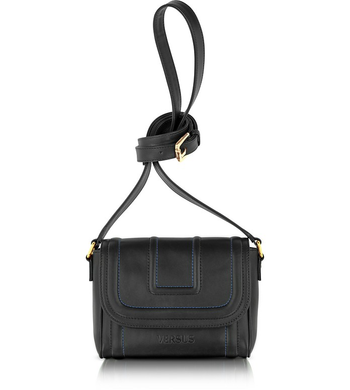 Versus - Black Calf Leather Shoulder Bag - Versace
