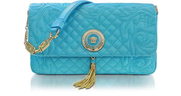 Vanitas Light Blue Quilted Leather Shoulder Bag - Versace
