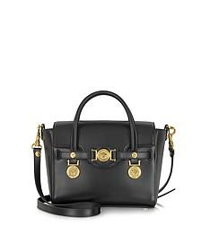 Golden Signature Black Leather Satchel Bag