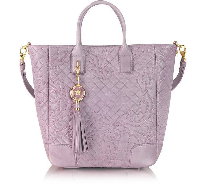 Vanitas Mauve Quilted Leather Tote w/Shoulder Strap - Versace