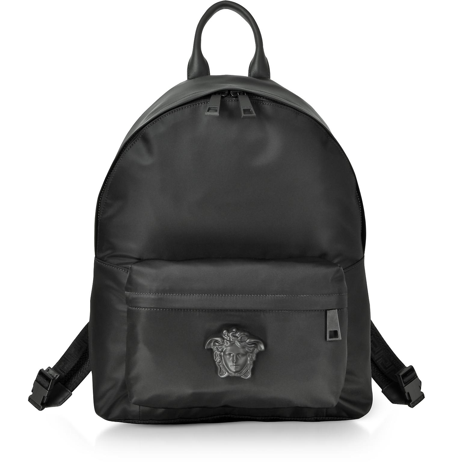 Black Nylon Medusa Head Men's Backpack