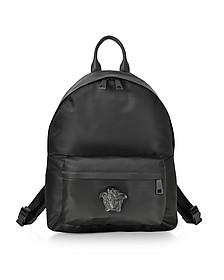 Black Nylon Medusa Head Men's Backpack - Versace