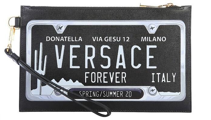Black Signature Flat Clutch - Versace