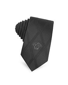 Black Silk Medusa Logo Skinny Tie