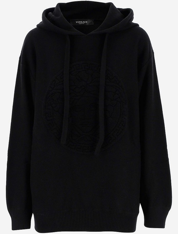 Black Cotton Women's Hoodie - Versace