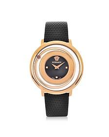 Venus Stainless Steel w/Black Leather Strap Women's Watch