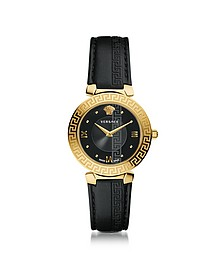 Daphnis Black and PVD Gold Plated Women's Watch w/Greek Engraving - Versace