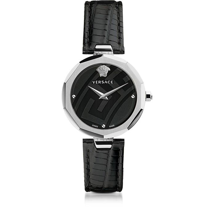Idyia Decagonal Black and Silver Women's Watch w/Greek Engraving - Versace